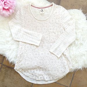 Anthro One September Cream Floral Lace Top